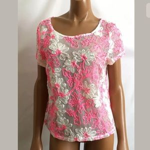 Mesh Embroidered see thru pink blouse size Small